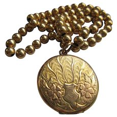 Antique Gold Fill Beaded Chain Necklace with Art Nouveau Locket