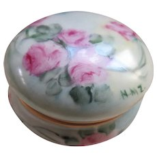Porcelain Painted Pink Roses Signed Dresser Jar