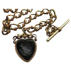 Antique Watch Chain Intaglio Heart Fob