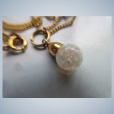 Vintage Petite Floating Opals Necklace in Gold Fill