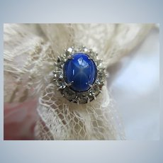 Vintage Sterling Paste Faux Star Sapphire Ring
