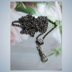Antique Sterling Ladies Watch Chain seed Pearl Slide