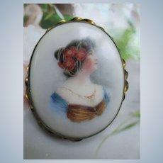 Antique Portrait Pin on Porcelain