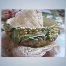 Vintage Tinted Floral Celluloid Bangle Bracelet
