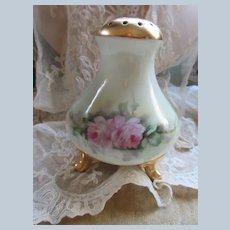 Porcelain Hand Painted Sugar Shaker Muffineer Pink Roses