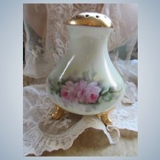 Porcelain Hand Painted Sugar Shaker Muffineer Pink Roses
