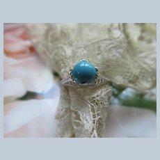 Art Deco Era 18K White Gold Filigree Persian Turquoise Ring