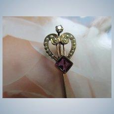 Antique 10K Heart Stick Pin Diamond & Amethyst