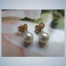 Estate 14K Cultured Pearl Post Earrings