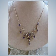 Antique 9k 14K Amethyst Seed Pearl Necklace