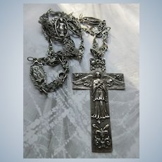 Vintage Fratelli Coppini Archangel Cross Necklace 800 Silver