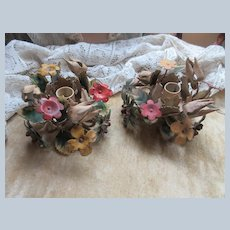 Older Vintage Tole Work Painted Candle Holders Metal Flowers
