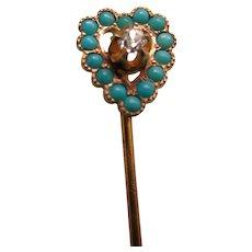 Antique 14K Persian Turquoise Diamond Heart Stick Pin