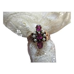 Victorian antique 10K Garnet Doublet Seed Pearl Ring