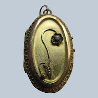 Antique Victorian Etruscan Style Locket in Gold Fill