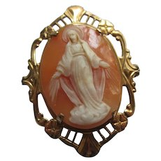 Vintage Blessed Mother Cameo Pin in Gold Fill