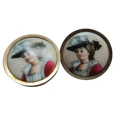Antique Portrait on Porcelain Cuff Buttons Cufflinks