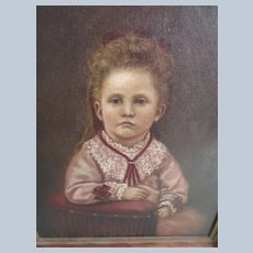 Antique Framed Portrait of Child 1872