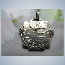 Antique Silver Watch Fob  Pigeon Shoot