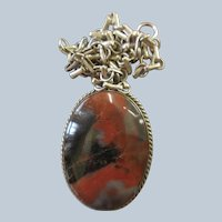 Sterling Petrified Wood Necklace