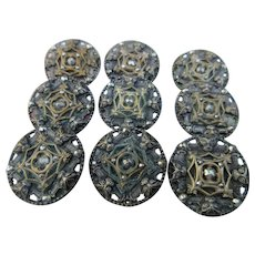 Victorian Cut Steel Butterfly Buttons Set Of 9