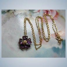 Vintage 14K Amethyst Flower Necklace