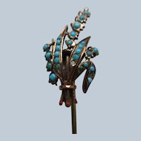Antique Turquoise Stick Pin in Gold Fill