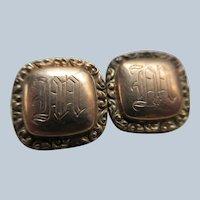 Victorian Gold Fill Cufflink Cuff Buttons Letter M Monogram