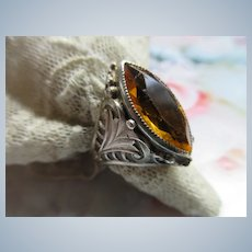 Vintage Sterling Amber Colored Glass Ring