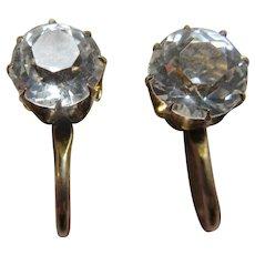 Older Vintage Paste Screw Back Earrings in Gold Fill