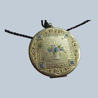 Art Deco Era Flower Basket Compact Necklace