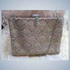 Vintage Brocade Bag Silver Rose Quartz Clasp