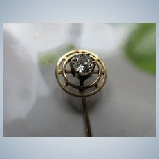 Deco 10K Diamond Stick Pin in Velvet Box