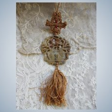 Vintage Asian Carved Stone Macrame Necklace