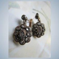 Circa 1930 12K and Silver Rose Cut Diamond Earrings