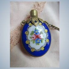 Antique Chatelaine Perfume Scent Bottle on Sterling Guard Chain
