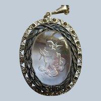 Vintage Reversed Carved Glass signed Czech Necklace