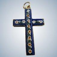 Vintage Mosaic Floral Cross Pendant