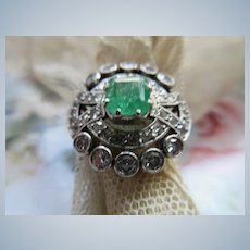 Older Vintage Platinum 18K Emerald Diamond Ring