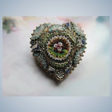 Antique Floral Mosaic Heart Brooch