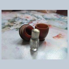 Older Vintage Tiny Bottle in Carved Acorn