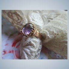 Victorian Antique 10K Amethyst Ring in Velvet Box