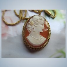 Vintage Carved Shell Cameo Necklace in Gold Fill