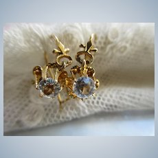 Victorian Antique 14K Paste Pierced Earrings with Silver Accents