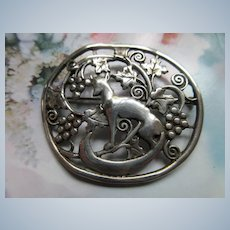 Vintage Sterling Fox in Grapes Pin