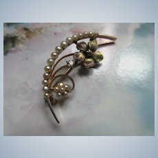 Antique 14K Diamond Seed Pearl Honey Moon Pin