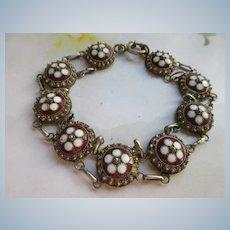 Vintage Enameled 800 Silver Bracelet