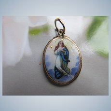 Antique Enameled Blessed Mother Religious Charm