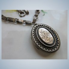 Victorian Antique Sterling English Locket Necklace