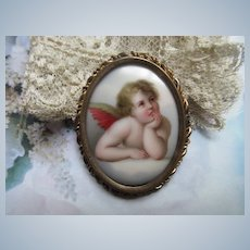 Antique Putti Portrait Pin